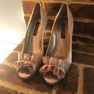 Gold Nina Satin Heels with Ruffle, Size 9